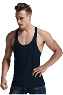 6102c3ef51aa9 Q.Y.Fashion Men s Cotton Blank Stringer Y Back Workout Gym Tank Tops ...
