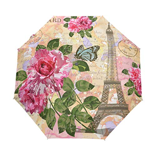 (Umbrella Auto Open Close Floral Flowers Romantic Paris Eiffel Tower 3 Folds Anti-UV Lightweight)