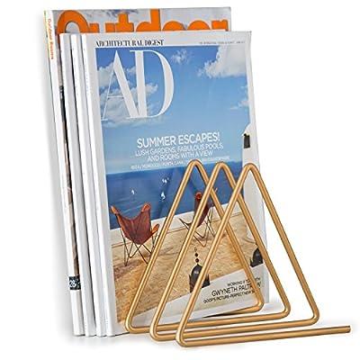 MyGift Desktop Triangular Gold-Tone Wire Metal Magazine, Book & File Sorter with 3-Slots