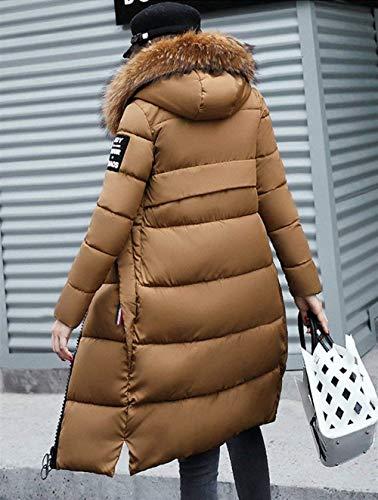Colore Donna Cappuccio Casual Piumino Manica Elegante Cerniera Outerwear Puro Imbottitura Braun Con Lunga Slim Invernali Fashion Autunno Ragazza Calda Trapuntato Fit Cappotto Giacca 6q46wrpg