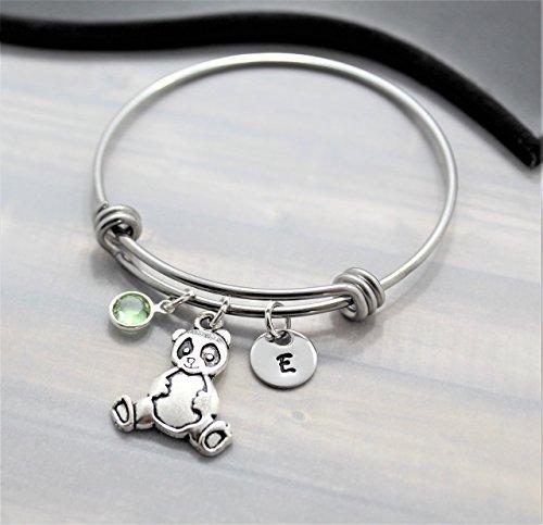 Panda Bracelet - Panda Bear Jewelry - Personalized Birthstone & Initial - Fast Shipping