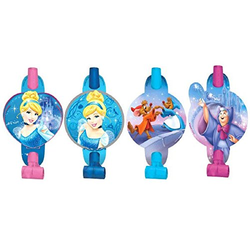 Disney Cinderella Princess Birthday Party Blowouts Noisemaker Toy Favour (8 Pack), Multi Color, 5 1/4