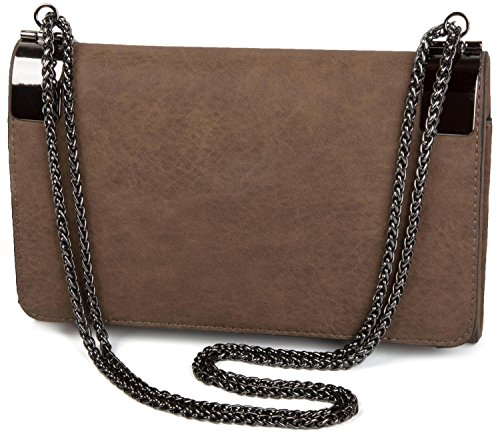 coil vintage clutch clasp plain design 02012046 with metal chain ladies Taupe evening and Brown Color styleBREAKER bag 8pgwvBqq