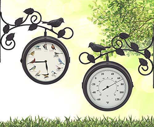 Mark Feldstein & Associates Decorative Outdoor Bird Clock and Weather - Garden Cottage Clock