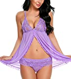 Pintimi Lingerie for Women Lace Babydoll V Neck Sleepwear Strap Chemise Purple M