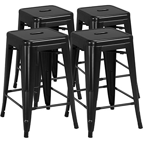 Yaheetech 24 inch barstools Set of 4 Counter Height Metal Bar Stools, Indoor/Outdoor Stackable Bartool Industrial High…
