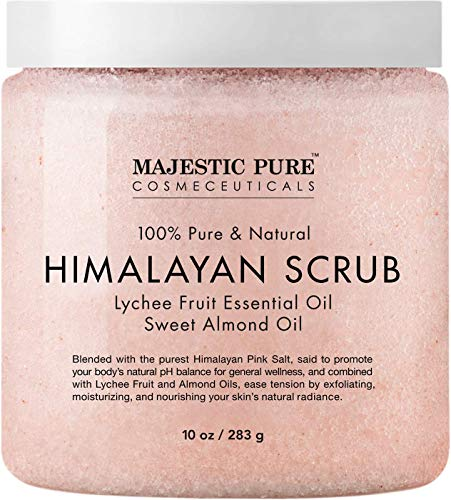 Majestic Pure Himalayan Salt Body Scrub with Lychee Essential Oil, All Natural Scrub to Exfoliate & Moisturize Skin, 10 Ounce (Pack of 1) from Majestic Pure