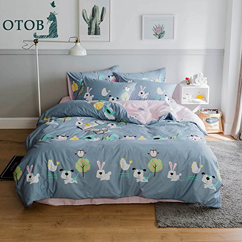 Full Duvet Cover Quilt (ORoa Lightweight Cotton Duvet Cover Sets for Kids Teens Queen 3 Piece Reversible Cartoon Animal Dog Rabbit Birds Cow Sheep Horse Chicken Tree Home Textile Bedding Set with Pillow Shams,Queen Style 2)