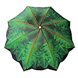 Bayside21 6.5 ft Outdoor Beach Umbrella with Palm Tree Design Telescoping Pole UV Protection (6.5ft, Palm Tree)