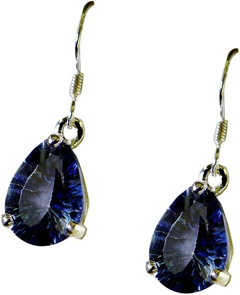 Pendientes de cuarzo azul místico para mujer, de plata de ley, con gancho largo para pescado y forma de pera