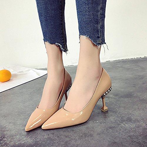 Qiqi Scarpette nere Xue superficiale tacchi bocca alti scarpe Scarpe bene rosa 38 con nude donna femminile principessa scarpe Rp5w5qd