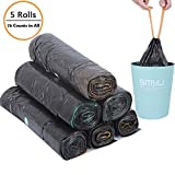 45 * 50cm Garbage Bag, Closing Garbage Bag, Drawstring Garbage Bag, odorless Universal Environmental Garbage Bag, Office, Kitchen, Living Room, Bedroom, Bathroom, etc. 5 Rolls / 75 Bags (Black)