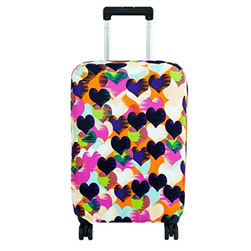 PBZYDU Luggage Cover, Anti-Scratch Dustproof Washable Travel Suitcase Cover Elastic Seersucker Print Protector(M-Hheart)