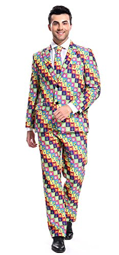 YOU LOOK UGLY TODAY Men's mens Funny Bachelor Party Suit Costumes CHRISTMAS MATRIX-Medium (Easy Halloween Costumes Men)