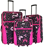 3pc Luggage Set Travel Bag Rolling Wheel Carryon Expandable Upright Butterfly