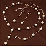Sumanee Multilayer Fashion Pearl Necklace Bracelet Earrings Gold Plated Jewelry Sets New