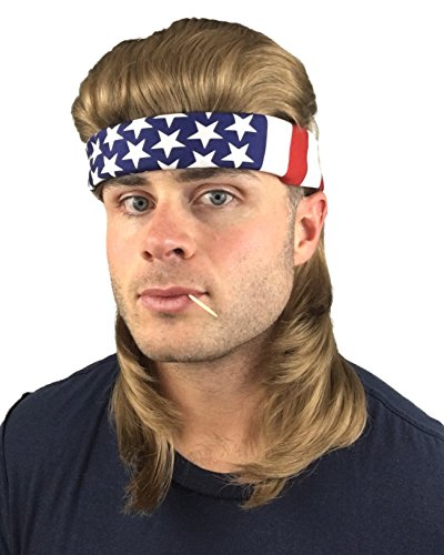2 pc. Premium Brown Mullet Wig (Flowtop) + USA Bandana: Redneck Halloween Costume Men's 80s Wig Mullets for Kids Adults Hillbilly Costumes Women's Kid's Men's 80's Mullet Wigs for Men Women Children -