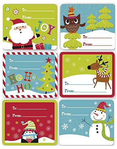 Christmas Gift Tag Stickers 60 Count Jumbo Modern Colorful Xmas Designs For Kids and Adults - Red Green Blue Looks Great on Gifts/Presents, Wrapping Paper and Gift Bags (Kids For Card Christmas Designs)