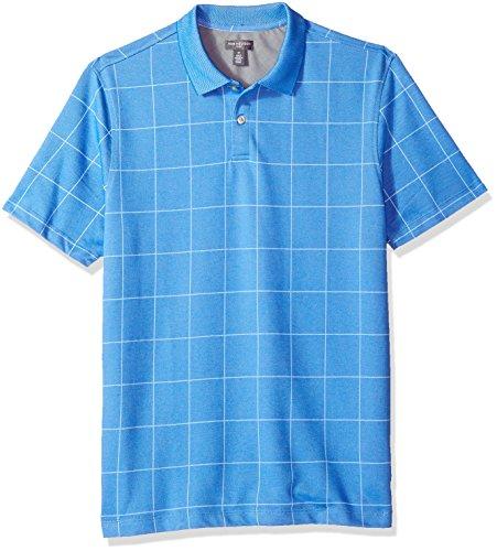 Van Heusen Men's Short Sleeve Printed Windowpane Polo Shirt, Deep Blue Air, Large