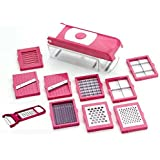 Kitchen Bazaar 13 in 1 Premium Nicer Fruit & Vegetable Cutter - Chopper, Grater, Slicer,Peeler - All In One (Pink)