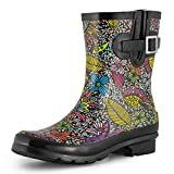 SheSole Women's Waterproof Rubber Short Rain Boots Black Floral US Size 10