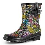 SheSole Women's Waterproof Rubber Short Rain Boots Black Floral US Size 8