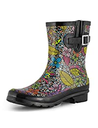 SheSole Women's Short Rain Boots Waterproof Rubber Floral Printed