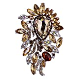 Sparkly Big Waterdrop Fully-Jewelled Rhinestone Brooch Pin Jewelry White - Brown