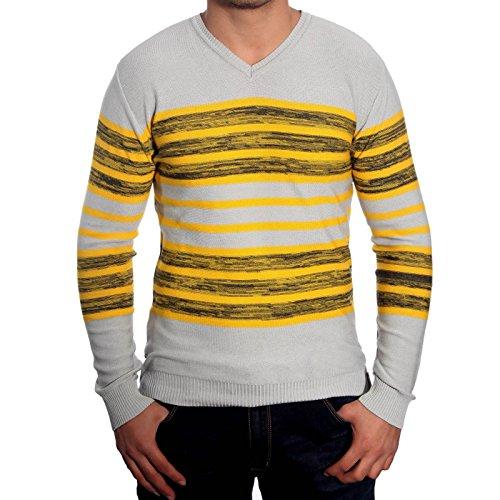 R-Neal RN-3154 Herren Pullover V-Neck Pulli Sweatshirt Jacke Hoodie T-Shirt Neu, Größe:S, Farbe:Gelb / Grau