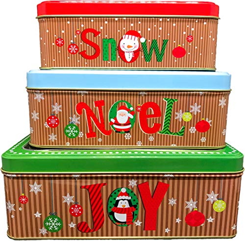 ALEF Christmas/Holiday Set of 3 Decorative Nesting Tins (Square w/Clear Window Lid)