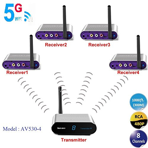 MEASY AV530-4(1X4) 5.8GHz 8 Channels Wireless Video & Audio Sender and receiver for Streaming Cable, Satellite, DVD to TV Wirelessly up to 300m/1000 feet with IR signal return back