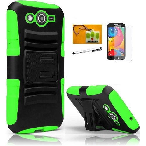 LF 4 in 1 Boundle - Hybrid Armor Stand Case with Holster and Locking Belt Clip, Lf Stylus Pen, Screen Protctor & Wiper Compatible with (T-Mobile) Samsung Galaxy Avant G386T (Holster Green)