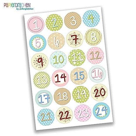 Numeri Per Calendario Avvento.Papierdrachen 24 Adesivi Con Numeri Per Il Calendario Dell Avvento Da Bambina Divertente N 25 Adesivi Per Creare E Decorare