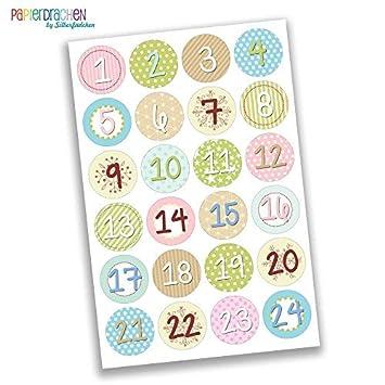 Papierdrachen 24 Adventskalender Zahlen Aufkleber Mädchenhaft Verspielt Nr 25 Sticker 4 Cm Zum Basteln Und Dekorieren