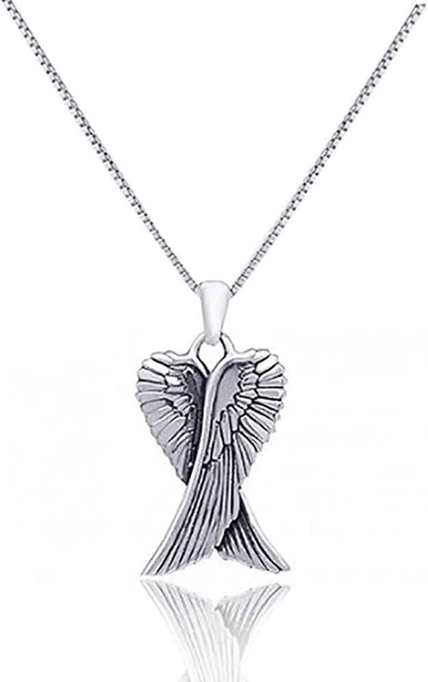 Tiny Angel Wing Necklace Silver Fine Chain Fashion Jewelry Boxed #30