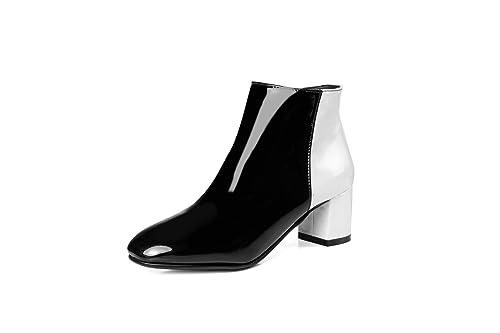 Botines de tacón Cuadrado con Puntera Alta para Mujer Botines Cortos: Amazon.es: Zapatos y complementos