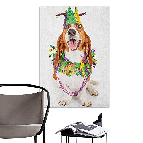 Wall Mural Wallpaper Stickers Mardi Gras Happy Smiling Basset Hound Dog Wearing a Jester Hat Neck Garland Bead Necklace Multicolor bar Cafe Poster W8 x -