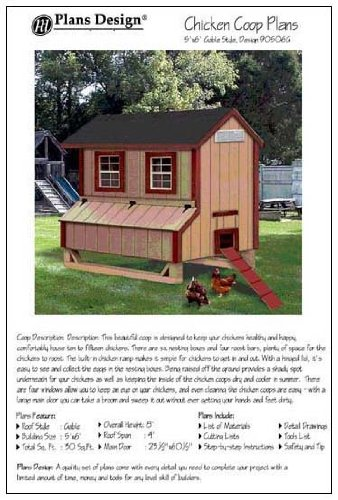 5'x6' Chicken Coop / Hen House Plans, Gable Roof Style (How to build a backyard chicken coop, design # 90506G)