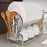 Tomasar Dish Rack Stainless Steel Two Tier Draining Rack Rustless Storage Rack with Chopstick Tray Holder (Red2) (Silver)