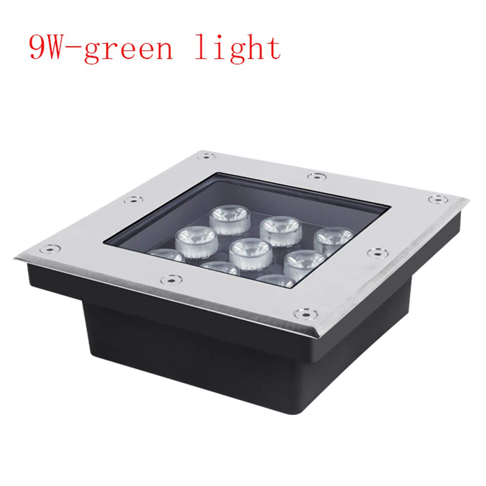 KMYX 9W LED Embedded Buried Light Floor Stair Light LED Spotlight Decorated Patio Courtyard Swimming Pool Recessed Underground Light (Color : Yellow Light)