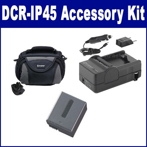 Sony DCR-IP45 Camcorder Accessory Kit includes: SDC-26 Case, SDM-102 Charger, SDNPFF70 Battery ()