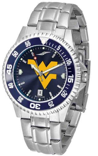 NCAA West Virginia University Mens Stainless Watch COMPM-AC-WVM (Watch Virginia Competitor)