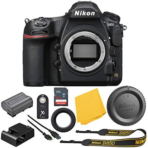 Nikon D850 FX-Format Digital SLR : Nikon D850 45.7 MP Digital SLR Camera (Body Only) Bundle + Sandisk Ultra 64GB High Speed Memory Card - International Version : 1 Year Dealer Warranty