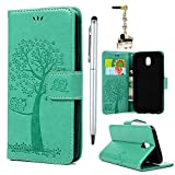 For Samsung Galaxy J5 2017 Case /J530 Case,Badalink Galaxy J5 2017 Cover PU Leather Case Wallet Embossed Tree Owl Folio Flip Case Soft TPU Magnetic Closure Cover Shockproof Bumper Cover with Card Slots & Wrist Strap for Samsung Galaxy J5 2017 Case /J530 - Mint green