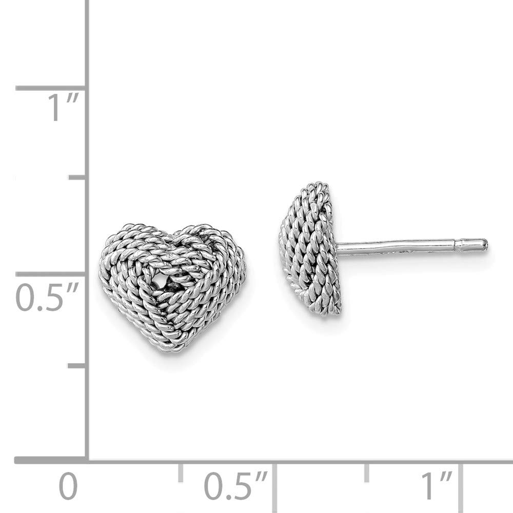 Sterling Silver Small Twisted Knot Heart Post Earrings Solid 9 mm 9 mm Button Earrings Jewelry
