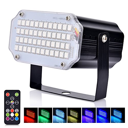 BASEIN Stage Lights with Remote Control Adjustable Speed 7 Modes Party Lights with Super Bright 48 LED Strobe Light for Halloween Christmas DJ Home Party Festival Dancing Bar Club -