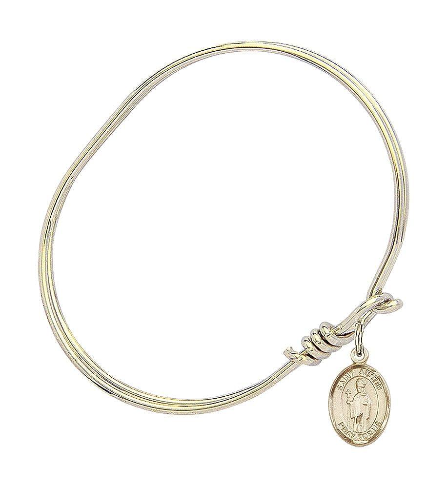 5 3//4 inch Oval Eye Hook Bangle Bracelet with a St Austin charm.