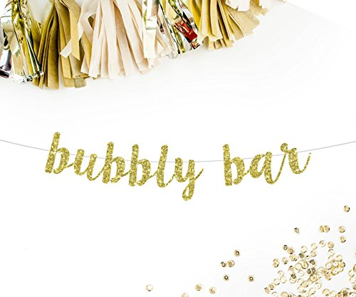 Bubbly Bar Cursive Party Banner, Gold Glitter | mimosa bar pop champagne brunch bridal shower bachelorette party drinks table bar bunting sign