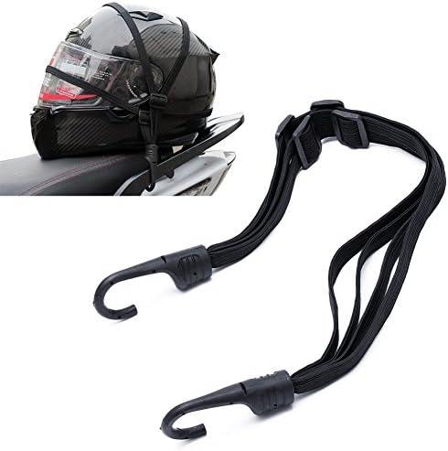 Kangnice Retractable Elastic Rope Strap for Motorcycle Helmet Luggage, 2 Hooks