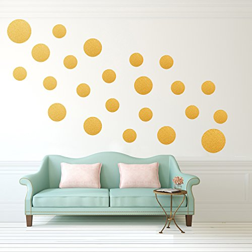 Shiny Large Dots (Gold SHINY Polka Dot Wall Decals(23 Big and Small Dots) ,Metallic Polka Dots Wall Stickers With Gift Box for Kids Room,Nursery Room.)